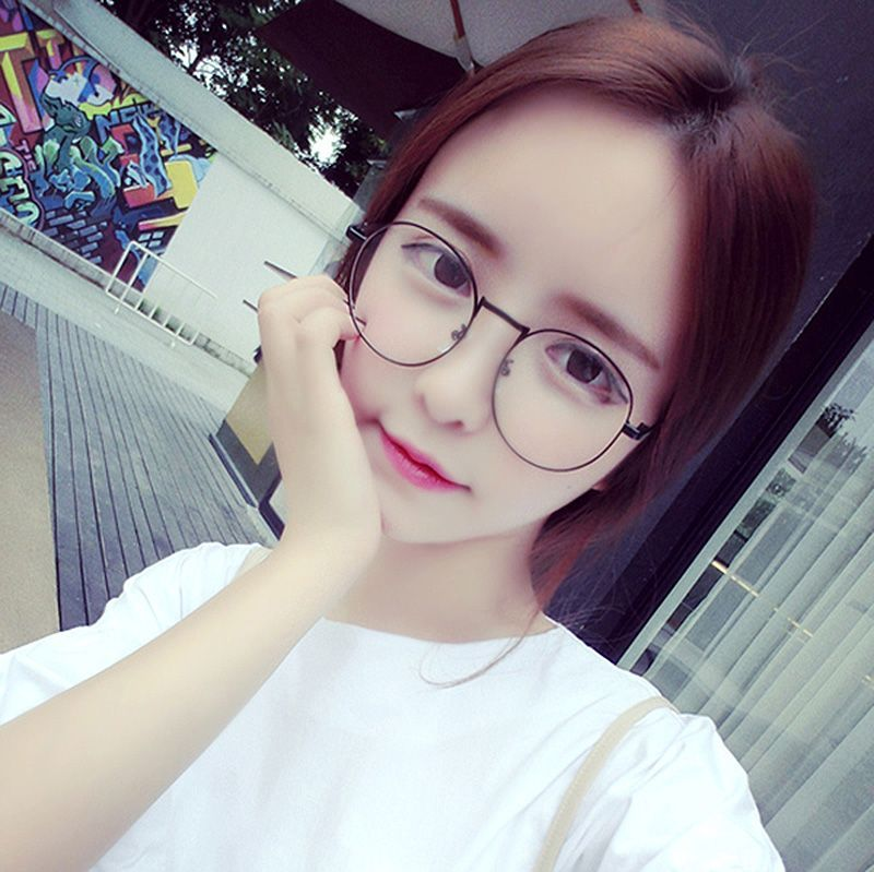 Korean version of ultra light nickel and titanium metal round with myopia frames, women's Retro frame, big wave glasses, male frame