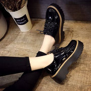 The spring and autumn Korean platform shoes British style small leather shoes casual shoes shoes retro round shoes with students