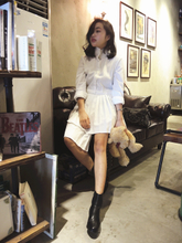 LADY SE7EN handmade custom retro white fairy temperament irregular design Pleated Dress lining
