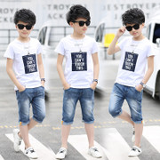 2017 new boys summer suit boy child at the age of 12 children 13 children 10 15 in the summer clothes for children