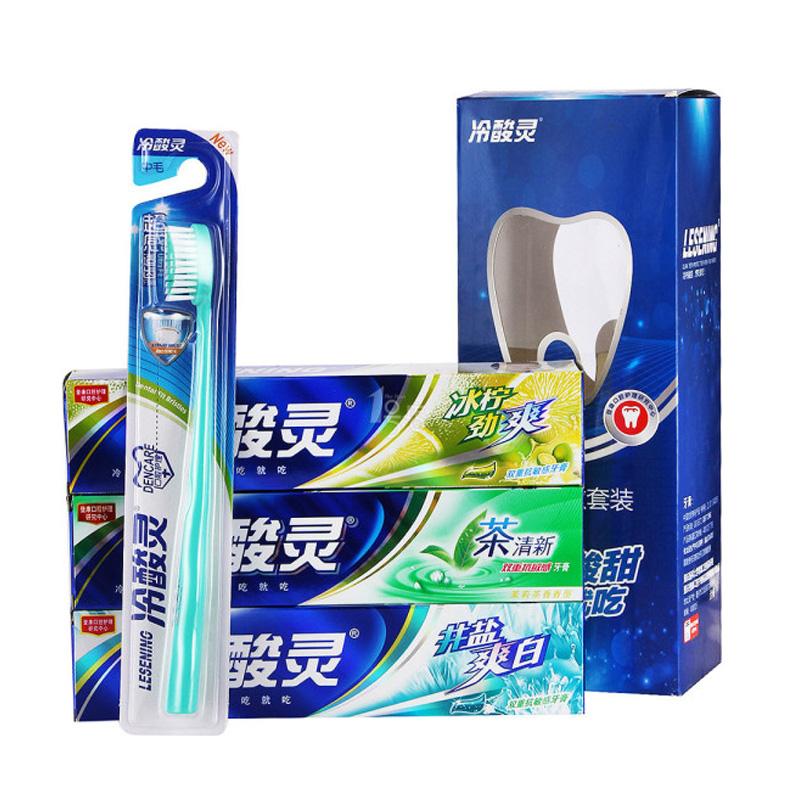 冷酸灵双重抗敏套装茶清新冰柠井盐330g送牙刷