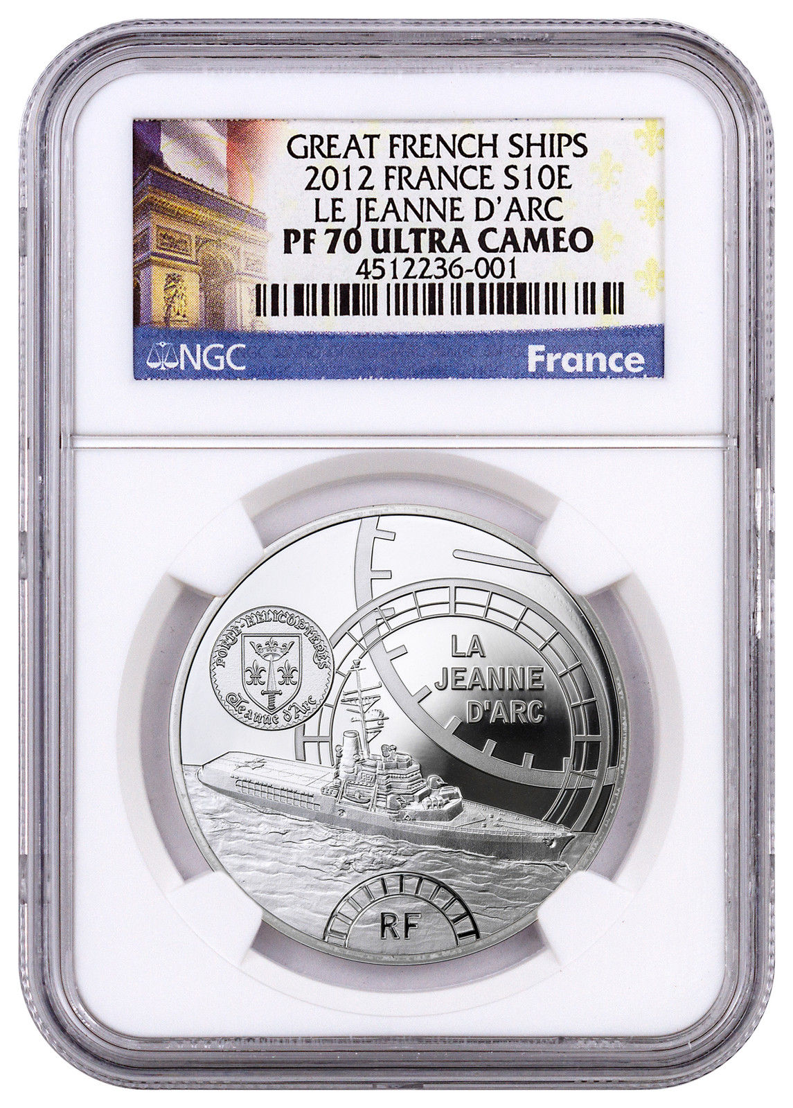 Haining tide France 2012 Ship Series Joan of arc cruiser Memorial silver NGC-PF70