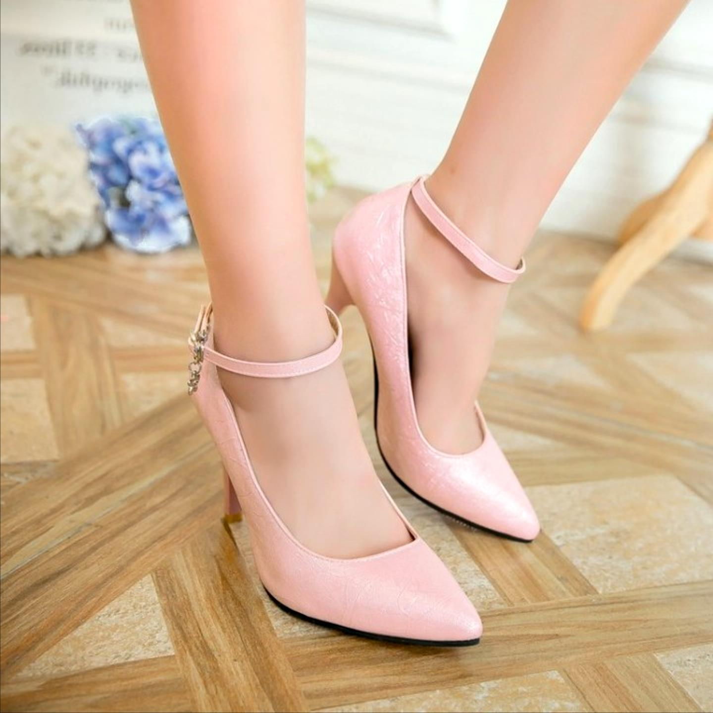 2017 new European tip 2829 small yards spring shoes size 50 shoes high-heeled shoe buckle shoes single drag queen