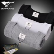 Septwolves slim youth cotton vest men tight sleeveless vest underwear movement thread backing hurdle