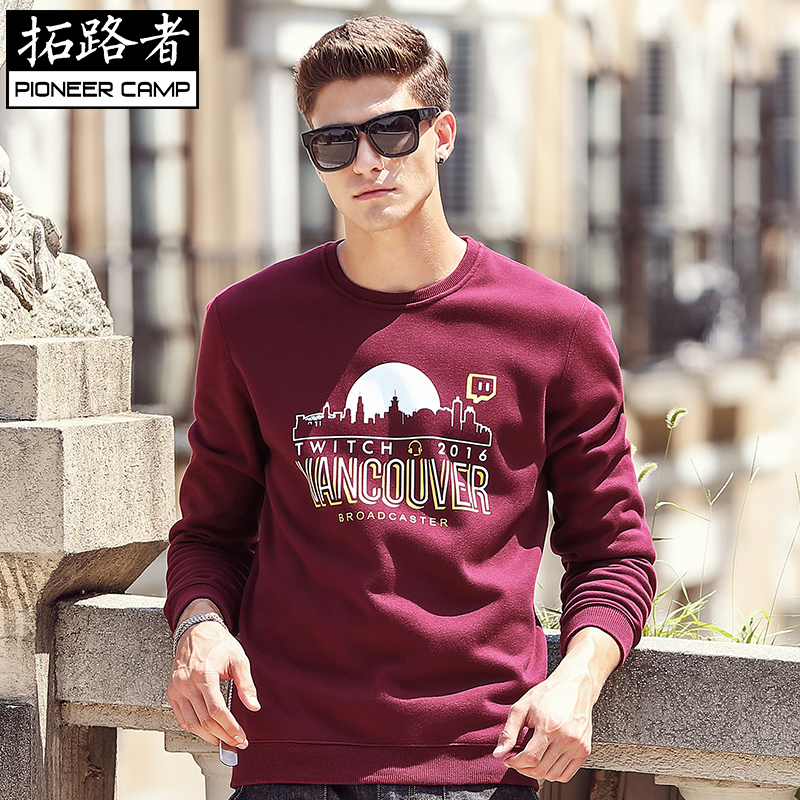 Tourich young men sweater cashmere t-shirt men fall with thick long sleeved T-shirt printing City tide
