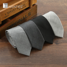 Korean wool narrow tie men dress business students work fine black 5cm British Marriage gift box