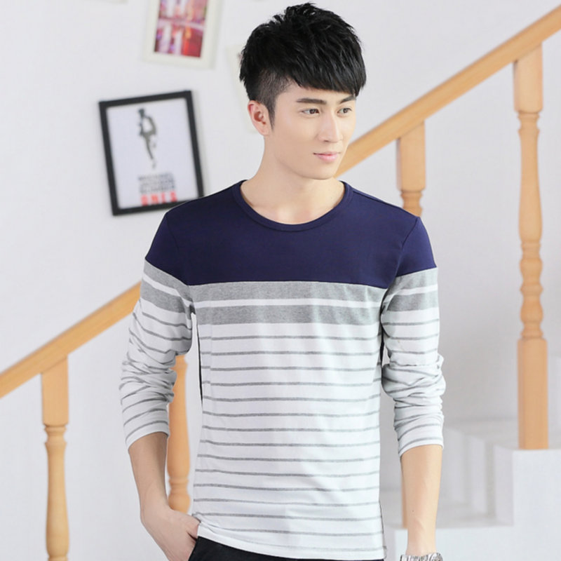 Summer men long sleeved t-shirt t-shirt cotton T-shirt slim young Korean spring tide men's shirt