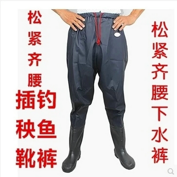 Thickening, tightness, waist, water, conjoined rain pants, fishing shoes, trousers, men's wading shoes, rice transplanting boots, large yards of 45/46 yards