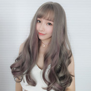 Long hair wig female air bangs big wave natural fluffy shave long curly hair streaked wig