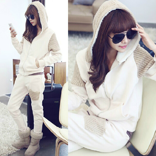 2015 winter women add flocking thick sweater Korean fashion leisure suit plus size athletic wear boom