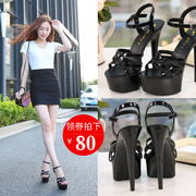High heels shoes 15cm/ cm sandals with thin waterproof shoes Shoes Black Princess nightclub catwalk shows