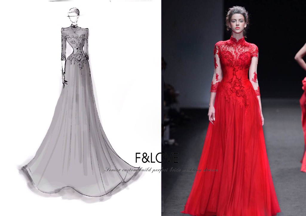 In the summer of 2015 the new hollow lace collar long-sleeved red toast backless manual nail bead luxury banquet dress