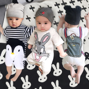 Female baby clothes summer baby boy summer thin 6 neonates at the age of 0 1 ha clothing pajamas for 3 months