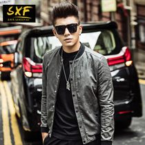 SXF Pu leather mens motorcycle leather slim hunk with coat collar Camo jacket mens baseball boom