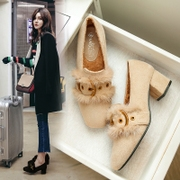Harajuku wind peas shoes social shoes ladies winter models with a thick coat with plush shoes female plus velvet heels