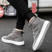 Winter shoes with cashmere thermal shoes Korean high shoes men's casual shoes all-match Kobron hip-hop shoes