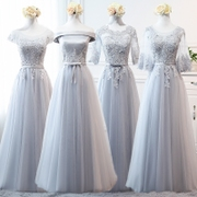 Bridesmaid dresses in the long section of 2017 NEW KOREAN GREY slim sisters dress dress party host