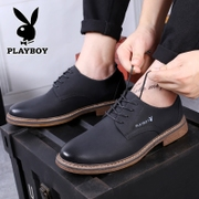Playboy men's shoes Winter plush warm business shoes male Korean version leather men's Casual shoes increase
