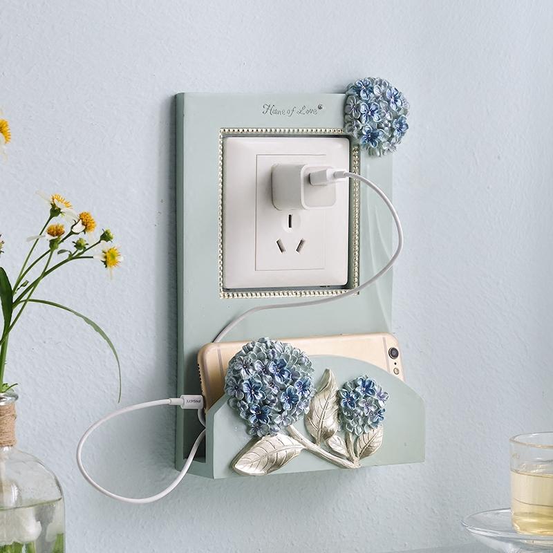 欧式灯开关贴墙贴可放手机架充电插座保护套创意现代简约客厅装饰