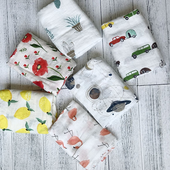 Muslintree beautiful watercolor wind muslin bamboo cotton gauze towel wrap newborn infant baby towel blanket
