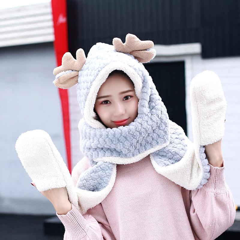 帽子围巾手套三件套一体女冬韩版可爱鹿角学生加厚保暖礼物套装潮