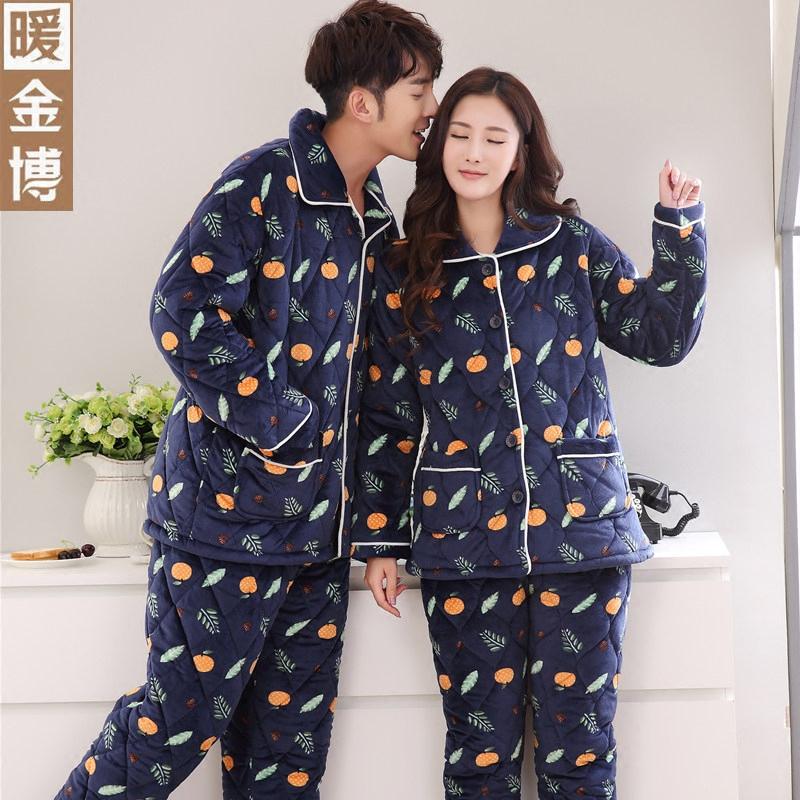 情侣睡衣冬天女韩版加厚卡通可爱保暖加绒男士冬季青年可外穿套装