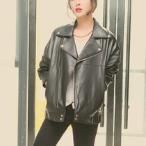 Korean version of the loose silhouette in the spring in oversize leather motorcycle jacket leather leather women long coat