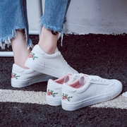 Embroidery Street white shoe female flat white shoes Korean all-match canvas shoes shoes 2017 new shoes in summer and Autumn