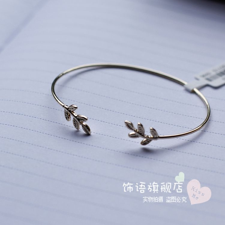 Japan and South Korea is the gold plating line of personality tree leaves open Bracelet sweet elegant fashion accessories