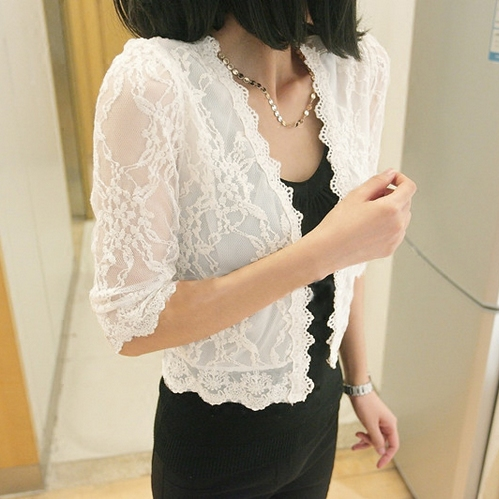 Large size sunscreen clothing female summer dress lace blouse cardigan beach wear short thin coat a shawl