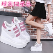 With the increase in Po shoes shoes white summer Chaohou muffin bottom Korean women shoe high heeled shoes breathable mesh