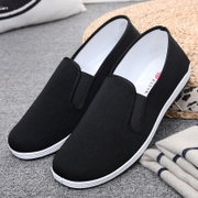 Old Beijing cloth shoes men lazy single shoes work shoes casual shoes men black black feet canvas old cloth shoes