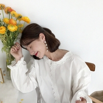 Thin bamboo poles 2018 spring Korean cute sweet feel lace-up design tops solid color loose shirt female