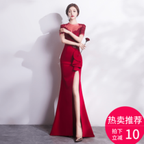 2017 new toast clothing bride wine red fishtail long sexy Banquet Evening Dress Party party annual meeting women