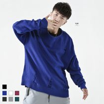 (Specials)BJHG winter OVERSIZE loose pure color hole crew neck sweater style sweater knit sweater