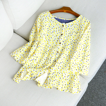 33653 spring and autumn New Women's tops Round neck fifth sleeve Korean version leisure Joker shirt in T-17