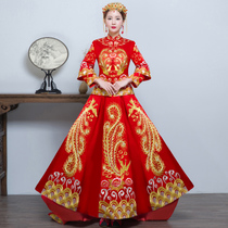 Show WO clothing bride 2017 New Arrival wedding dress gown dragon and Phoenix gown costume Chinese wedding dress show kimono toast clothing