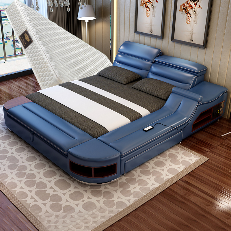 Usd Massage Tatami Leather Bed Double Bed 1 8 Meter Bed Leather Art Multifunctional