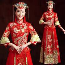 baby the same show WO clothing Bride Wedding Dress Chinese Dresses 2017 in the new show WO women toast clothing dragon and Phoenix gown