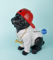 American black baseball cap Hip-Hop rap anthropomorphic personality Creative English Bulldog Animal Ornament Ornaments