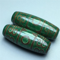 The new Tibetan old ore raw stone genuine green three-eye back-printed Old Tianzhu a pair of necklace pendants