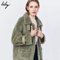Lily2019 autumn and Winter new womens loose thickened lamb fur short eco-friendly fur coat 3964
