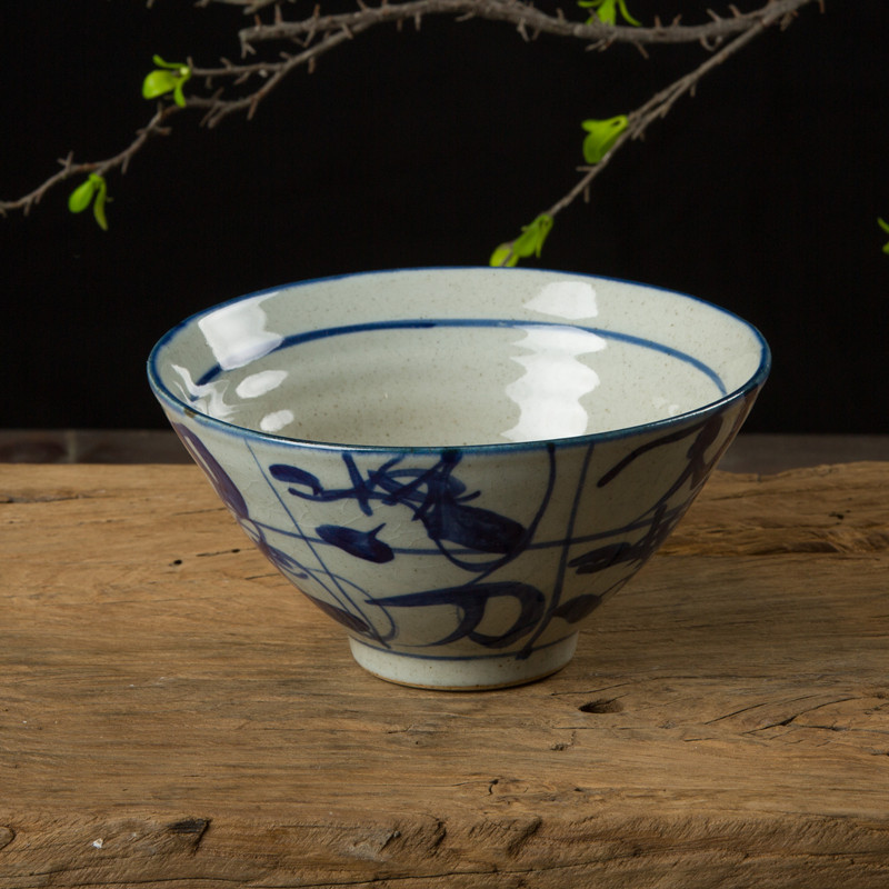 Pottery hand-painted glazed blue and white bowl, rice bowl, snack bowl, Chinese rough pottery soup bowl, hand-made tea ceremony accessories