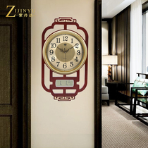 New Chinese wall clock living room home fashion Chinese wind clock simple calendar silent clock solid wood Quartz