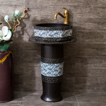Vertical pillar basin ceramic pillar Basin Integrated Landing antique wash basin balcony toilet household washbasin