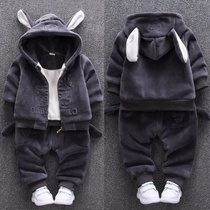 Male baby 1-3 child velvet padded two-piece