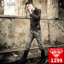 Mo Chen leather sheepskin handsome European and American tide brand leather jacket