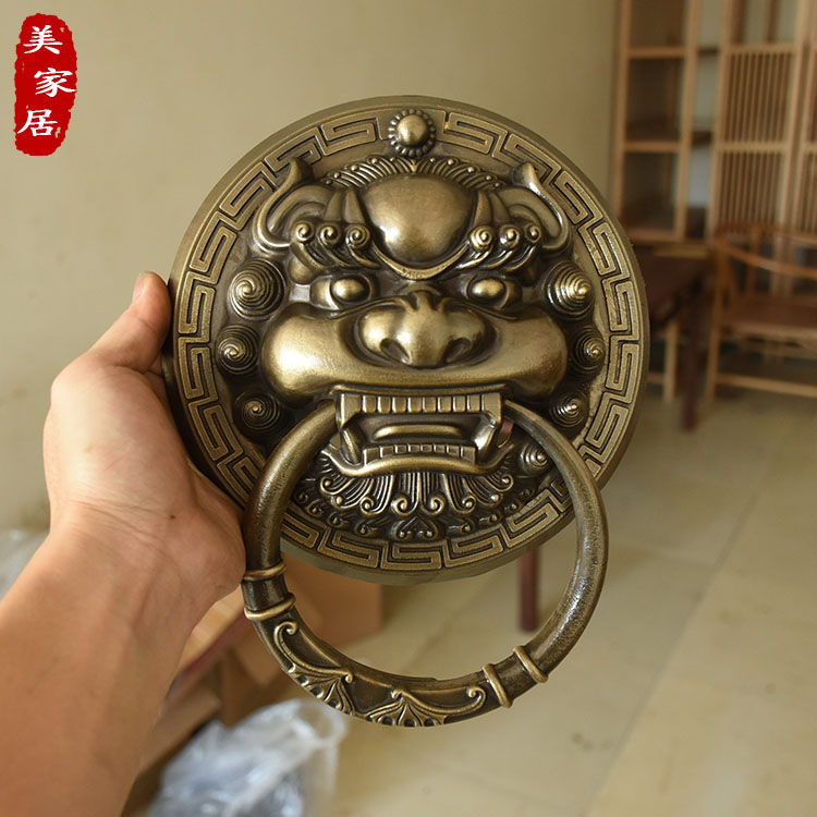 Antique pure copper beast head door ring Chinese lion head tiger head hand Kirin door handle ancient wooden door pull ring