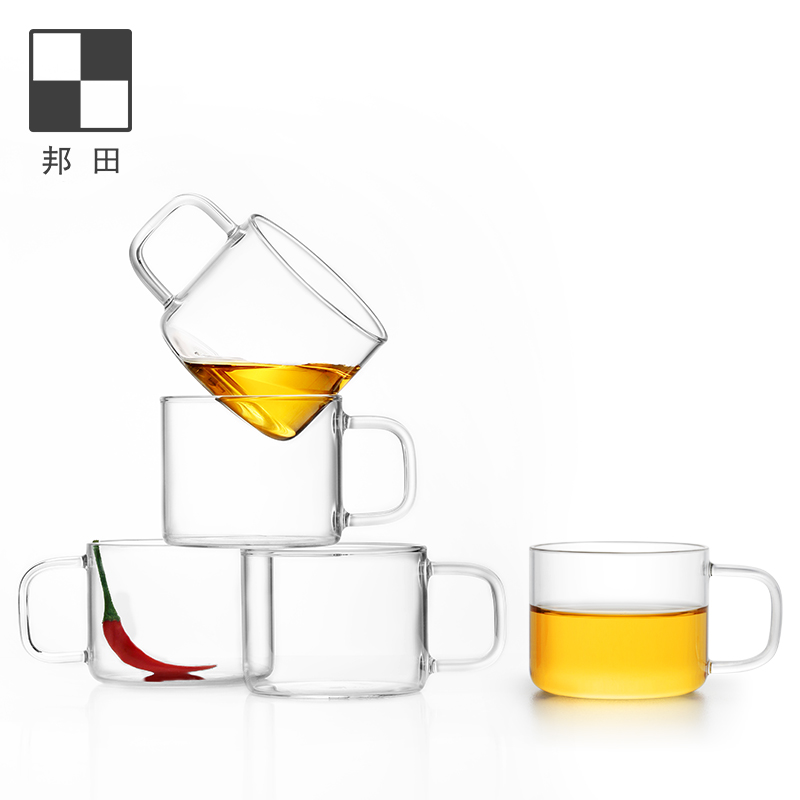 Bonta glass small teacong kung fu tea set family belt heat-resistant thickened transparent tasting cup 2 only packed