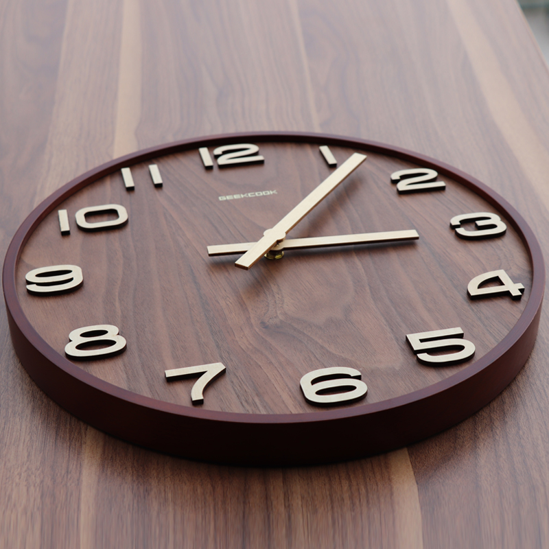 Geek Library new Chinese wall clock living room silent clock Chinese wind wood clock simple home clock 錶 ancient wall watch